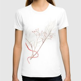 Winter Branches (white pine and rose hips) in Watercolor T-shirt