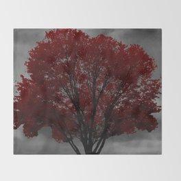 Red Tree, Grey Sky Throw Blanket