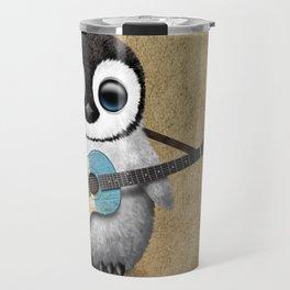 Baby Penguin Playing Guatemalan Flag Acoustic Guitar Travel Mug