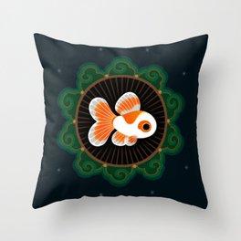Butterfly goldfish - white Throw Pillow