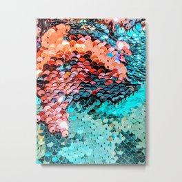 Multicolor Sequins Texture Fine Art Photography Metal Print