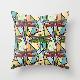 Dragonflies on Stained Glass Throw Pillow