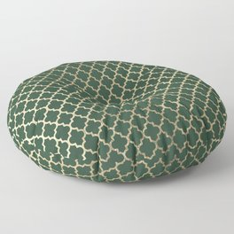 Forest green faux gold stylish moroccan quatrefoil Floor Pillow