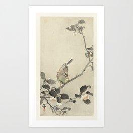 Bunting on blossom branch - Ohara Koson (1900 - 1930) Art Print