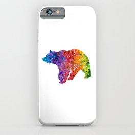 Bear Art Colorful Watercolor Art Gift Animals Art Wildlife Nature Gift iPhone Case