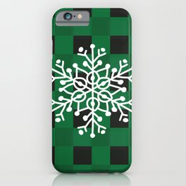 Happy Winter White Snowflake Merry Christmas With Green Plaid iPhone Case