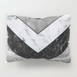 Shimmering mirage - grey marble chevron Pillow Sham