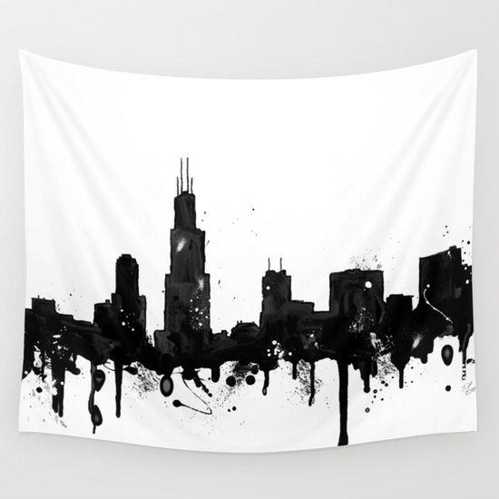 Chicago Skyline Wall Art watercolor chicago skyline wall tapestrytrinity bennett   society6