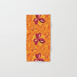 Orange And Pink Clover Abstract Floral Hand & Bath Towel