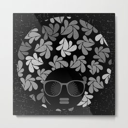 Afro Diva Black & Gray Metal Print