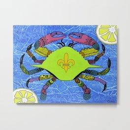 Cajun Calico Crab Metal Print