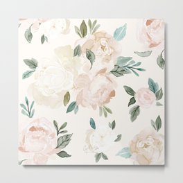 Vintage Blush Floral - softest pastel Metal Print