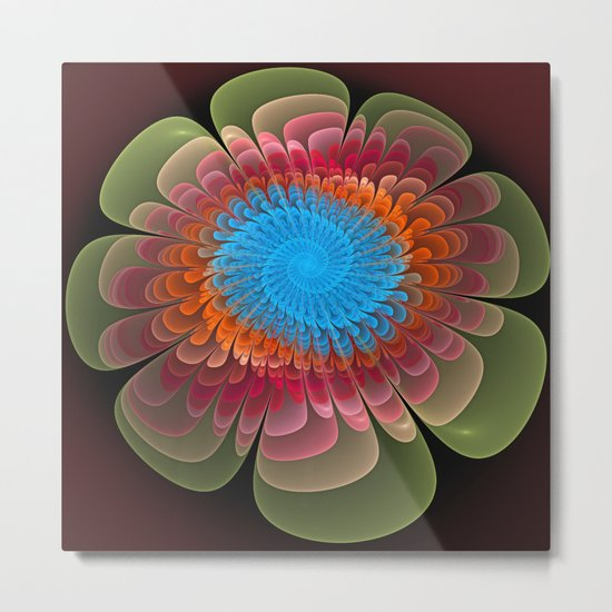 Colourful fantasy flower with a spiral heart Metal Print