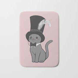 Grey Cat Wears Plumed Top Hat Bath Mat