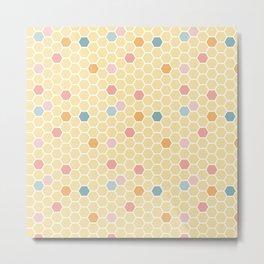Hexagon Tile Pattern - Lemon Yellow Metal Print