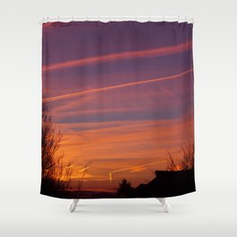 Neon Chemtrails Shower Curtain
