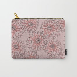 Peonies Overall Floral Pattern Peach Carry-All Pouch