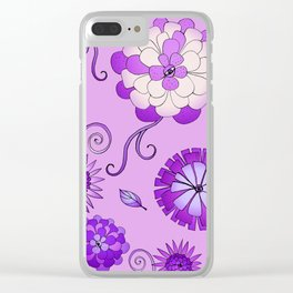 Purple Crazy Daisy pattern Clear iPhone Case