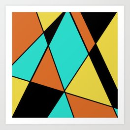 Aqua, Gold, Orange, and Black Geometric Design Art Print