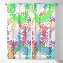 Texture of bright colorful gears and laurel wreaths in kaleidoscopic style. Sheer Curtain