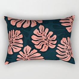 leaves pattern peach colored on dark blue petrol Rectangular Pillow