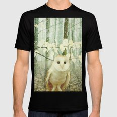Winter Owl Mens Fitted Tee Black LARGE