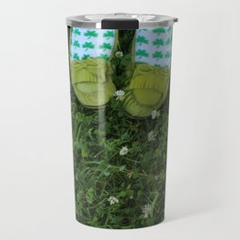 Shamrock Socks in a Green Clover Field Travel Mug