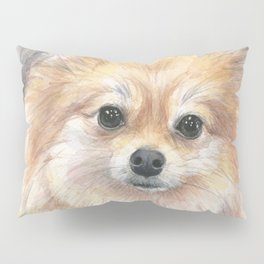 Pomeranian Watercolor Pom Puppy Dog Painting Pillow Sham