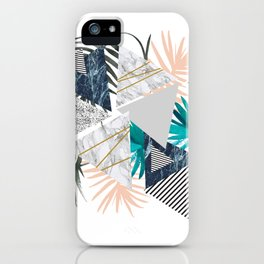 Abstract of geometric patterns with plants and marble II iPhone Case