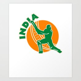 India Cricket  Indian Flag Colors Cricket Player Art Print