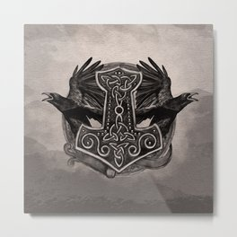 Mjolnir The hammer of Thor and ravens Metal Print