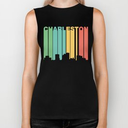 Retro 1970's Style Charleston West Virginia Skyline Biker Tank