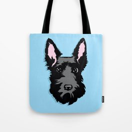 Black Scottie Dog on Blue Background Tote Bag