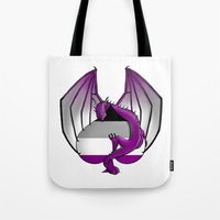 asexual Tote Bags featuring Asexual Wyvern by (i)Rene