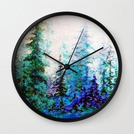 Mountain Landscape Pines In Blue-Greens-Purple Wall Clock