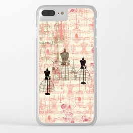Vintage coral pink mannequin music note collage design Clear iPhone Case