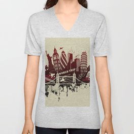 figures on international sites in grunge illustration Unisex V-Neck