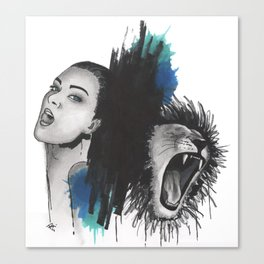 Girl and Lion Canvas Print