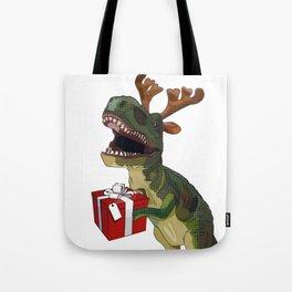 Christmas Trex holding present Tote Bag