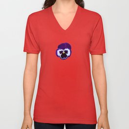 Pansy Dark Purple Flower Unisex V-Neck