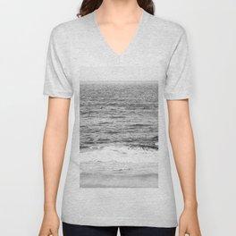 Black & White Ocean Wave Photography Unisex V-Neck
