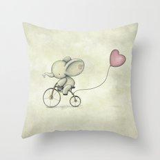 Cute Elephant riding his bike Throw Pillow