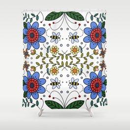Folk Art Colorful Flowers  Shower Curtain