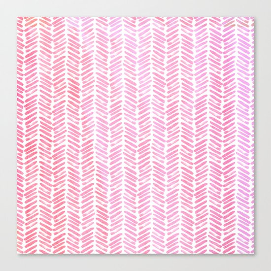 Handpainted Chevron pattern-small- pink watercolor on white Canvas Print