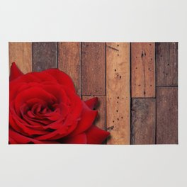 Red Rose & Wooden Background Rug