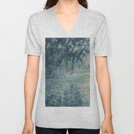 Morning on the Seine, Claude Monet Unisex V-Neck