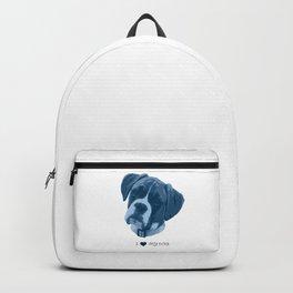 I love my dog - Boxer, blue Backpack