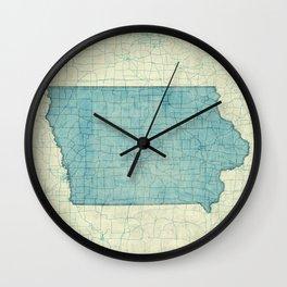 Iowa State Map Blue Vintage Wall Clock
