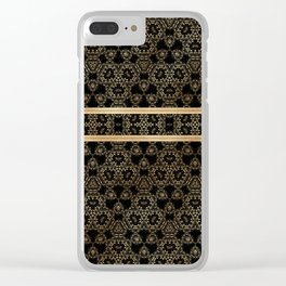 Elegant Black Gold Pattern Design Clear iPhone Case