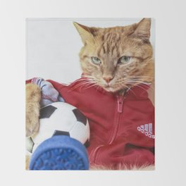 The Cat is #Adidas Throw Blanket
